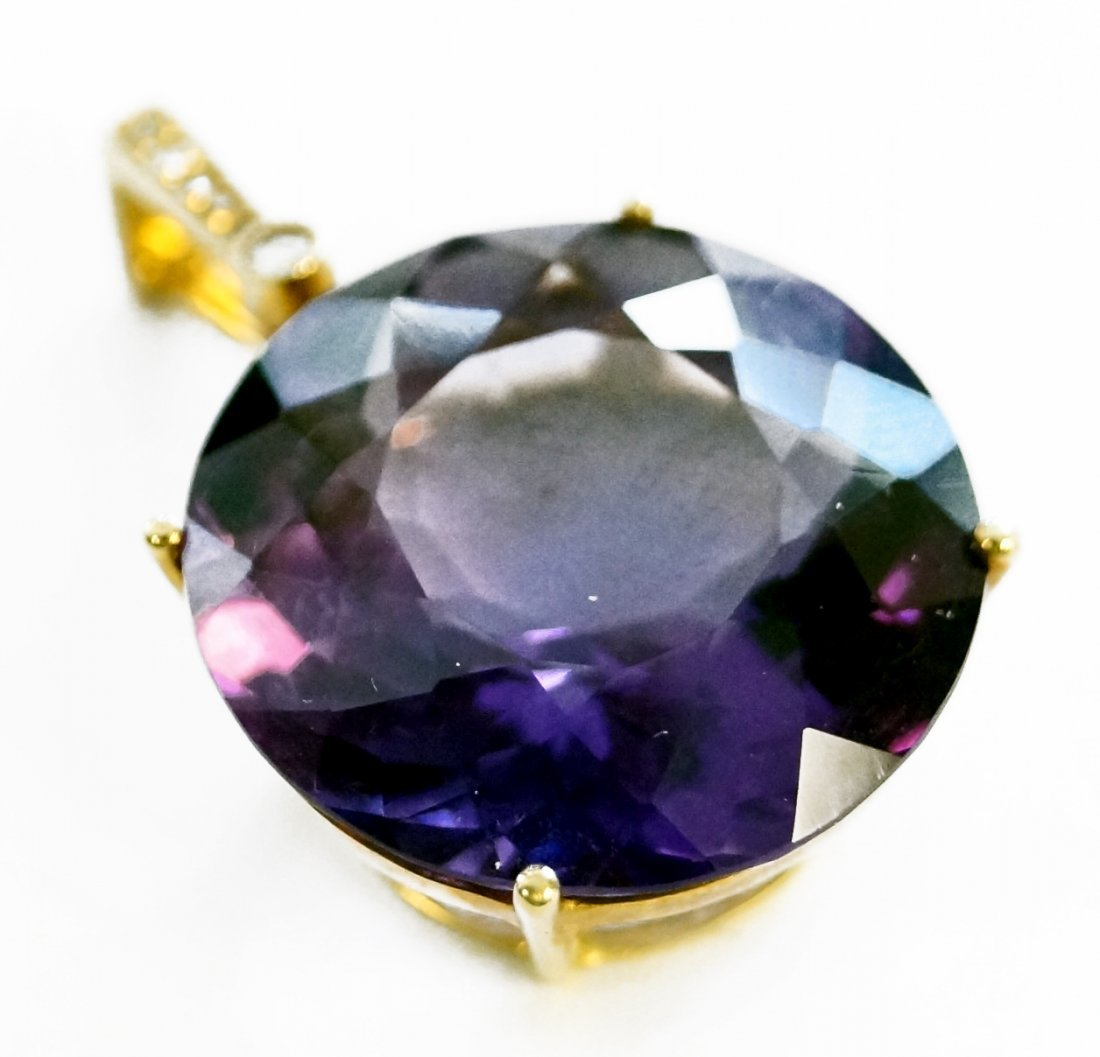 14K YELLOW GOLD AMETHYST PENDANT WITH DIAMOND ACCENTS,