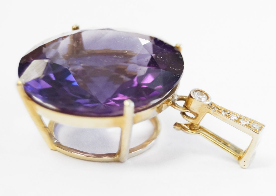 14K YELLOW GOLD AMETHYST PENDANT WITH DIAMOND ACCENTS, - 2