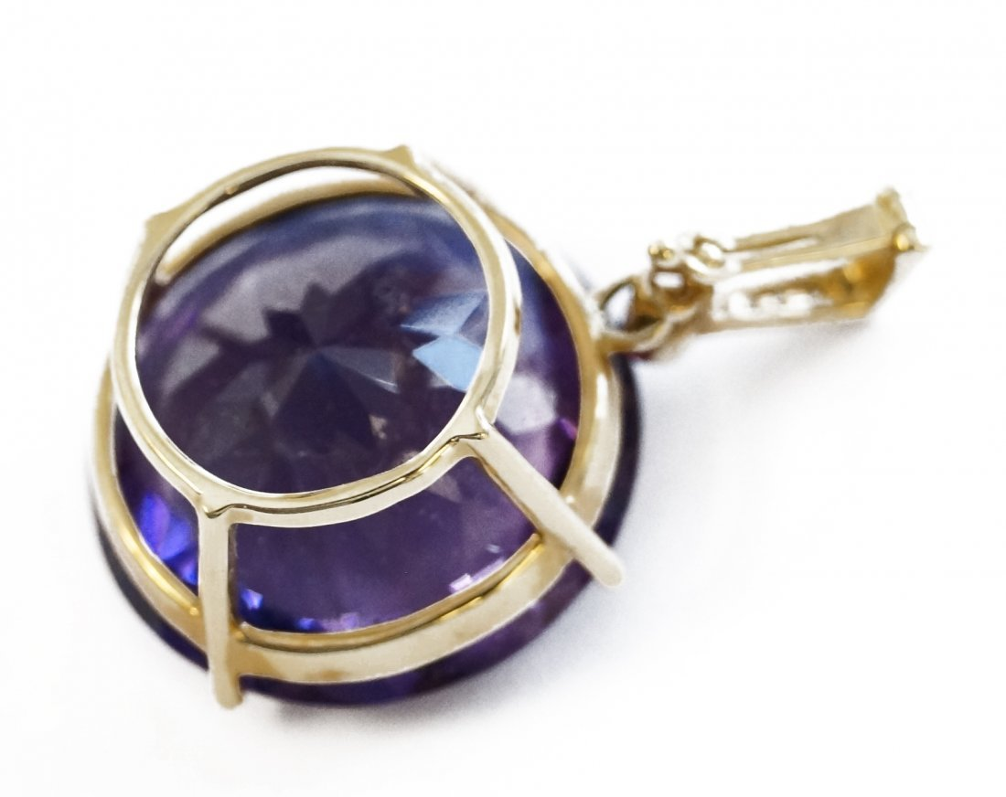 14K YELLOW GOLD AMETHYST PENDANT WITH DIAMOND ACCENTS, - 3
