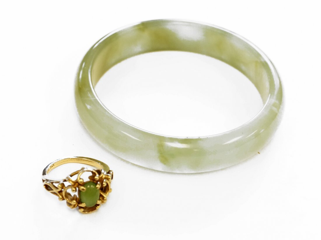 LOT (2) 10K YELLOW GOLD AND SERPENTINE RING WITH