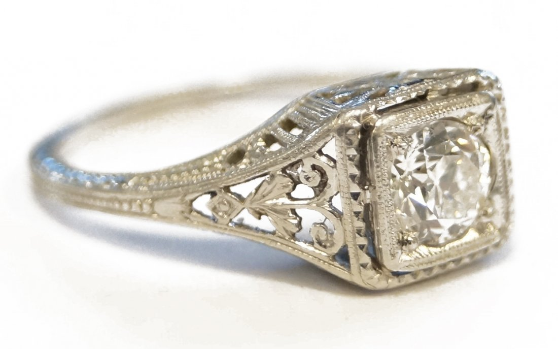 VINTAGE PLATINUM (TEST) EUROPEAN-CUT DIAMOND RING,