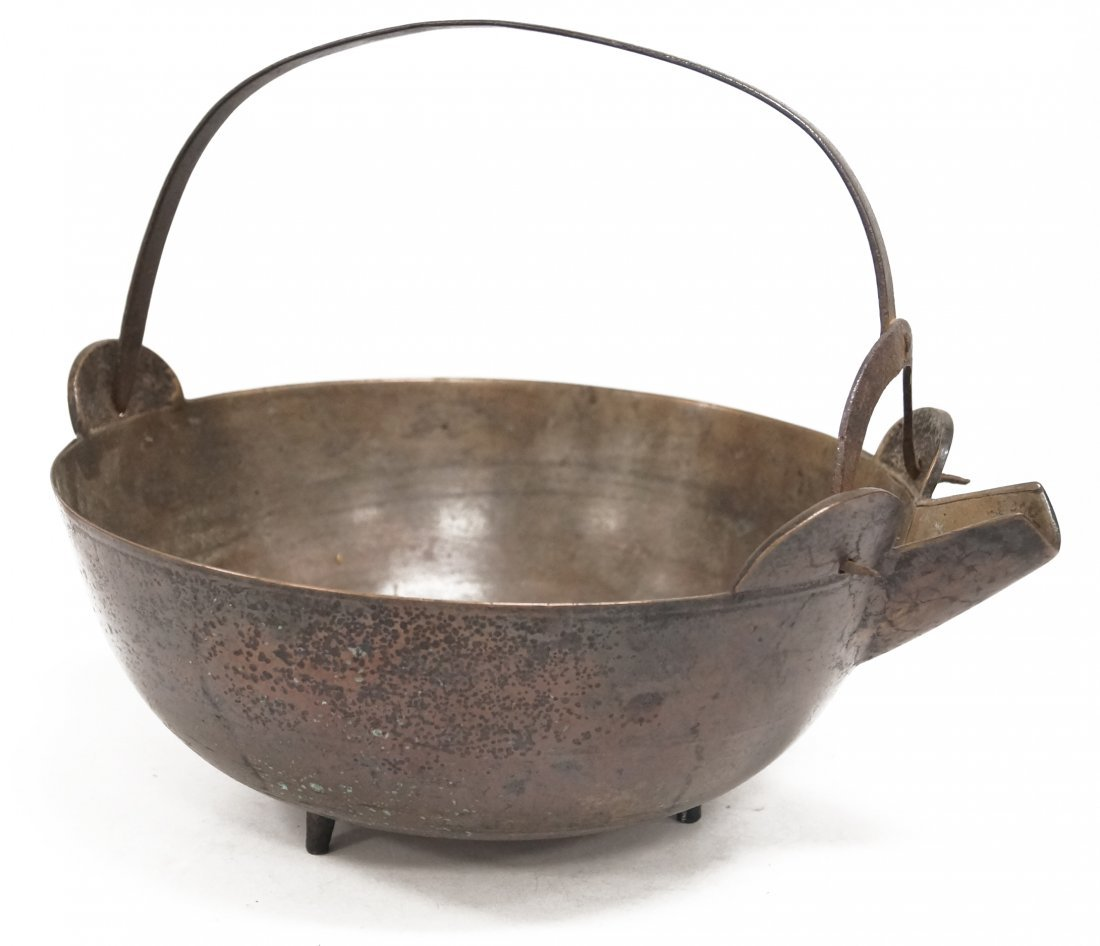 JAPANESE BRONZE AND IRON HANDLED SPOUTED BOWL, MEIJI.
