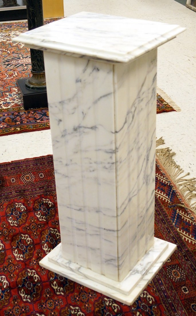 """WHITE MARBLE PEDESTAL. HEIGHT 36""""; TOP 16 1/2 X 14 1/2"""""""