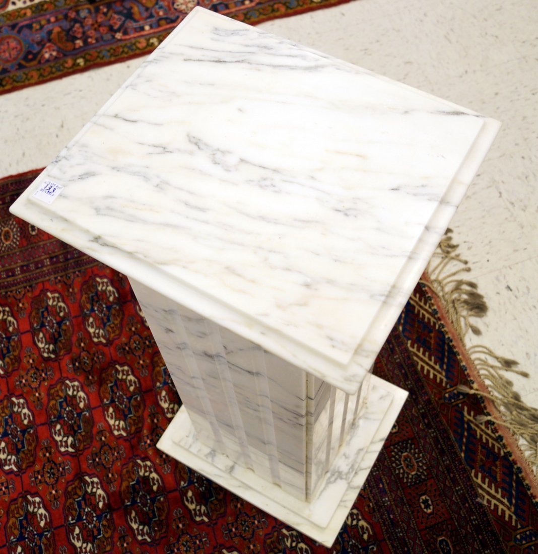 """WHITE MARBLE PEDESTAL. HEIGHT 36""""; TOP 16 1/2 X 14 1/2"""" - 2"""