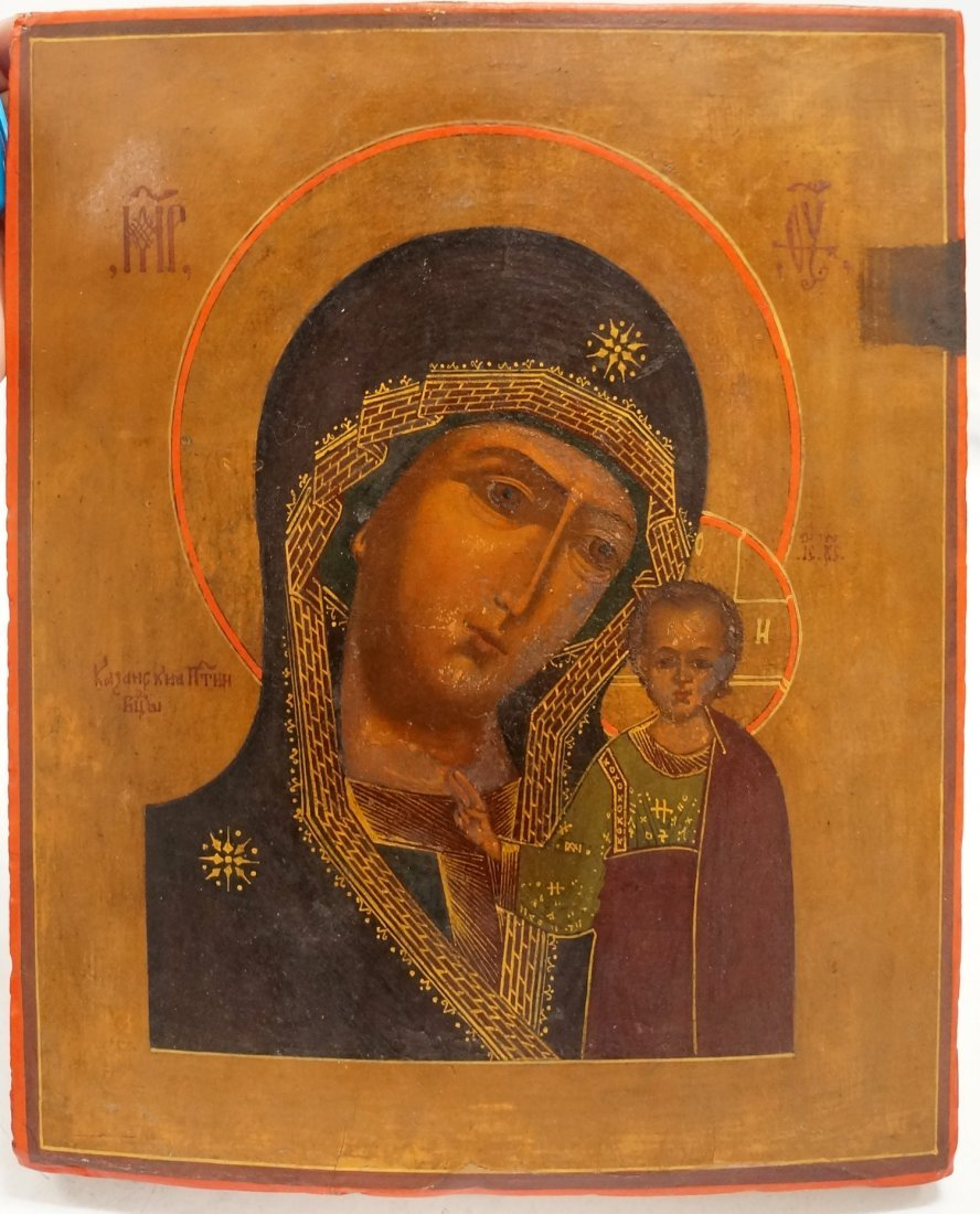 RUSSIAN ICON ON CYPRUS WOOD PANEL, MOTHER AND CHILD