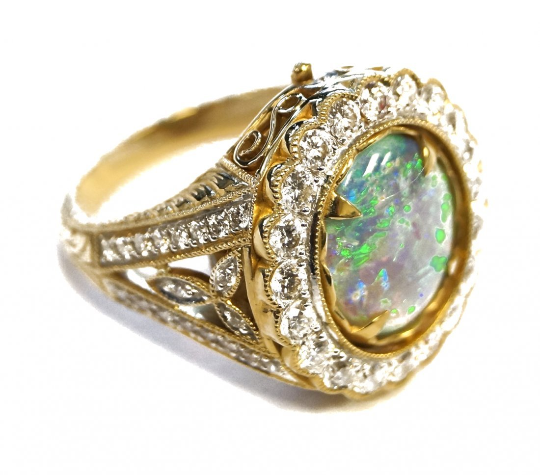 TREMONTI 14K YELLOW GOLD OVAL BLACK OPAL AND DIAMOND