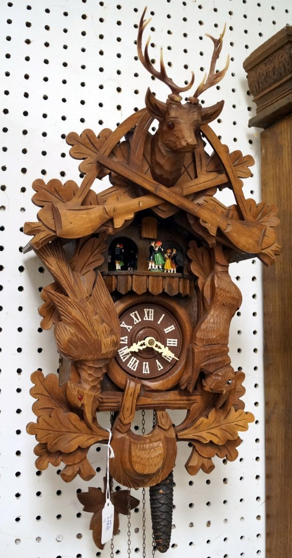 """GERMAN BLACK FOREST CARVED CUCKOO CLOCK. HEIGHT 20"""""""