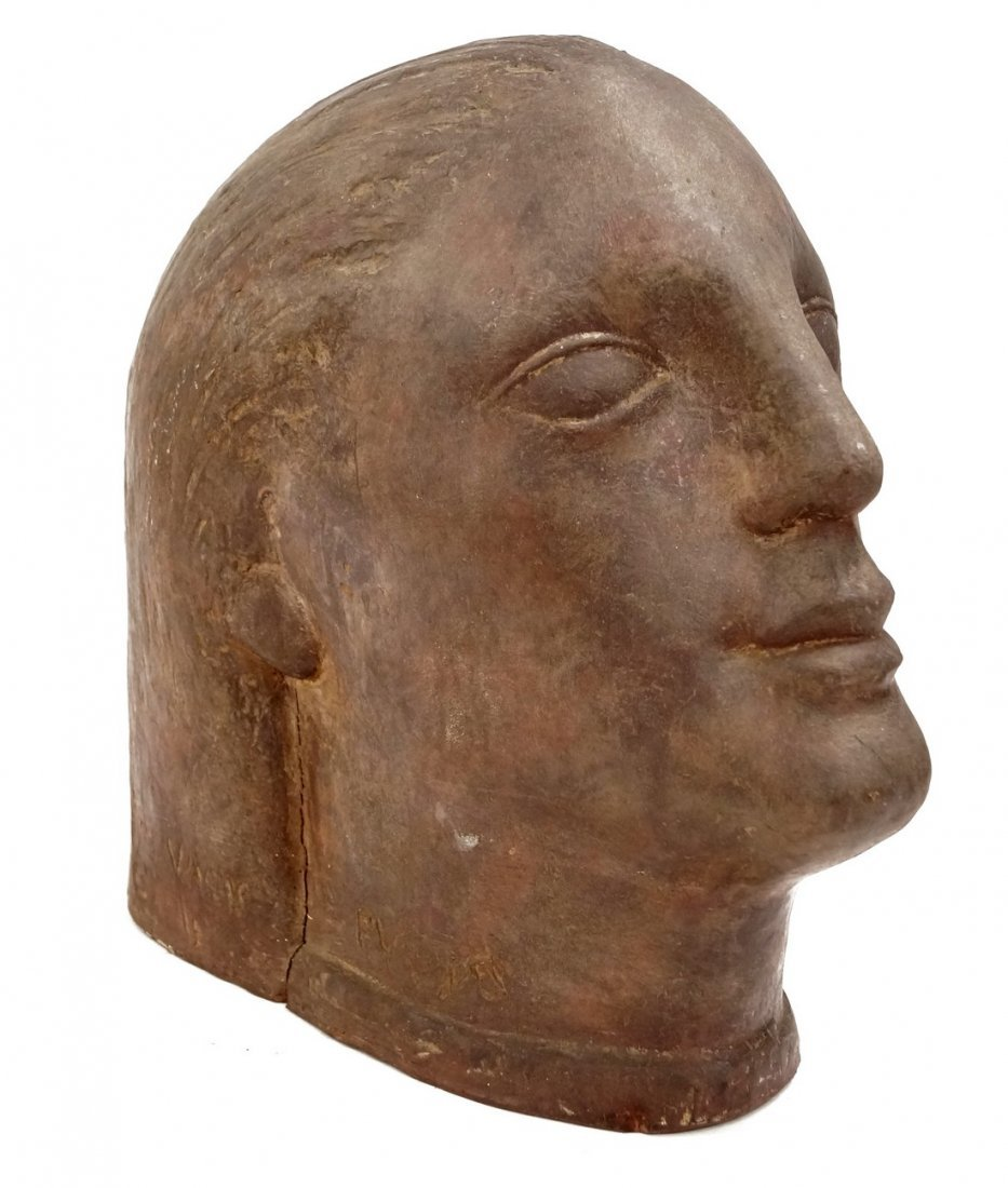 ART DECO TERRA COTTA HEAD OF A WOMAN, SIGNED. HEIGHT
