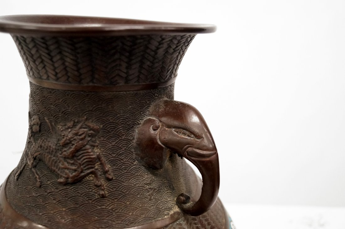 CHINESE BRONZE AND ENAMEL VASE WITH ELEPHANT HANDLES, - 2