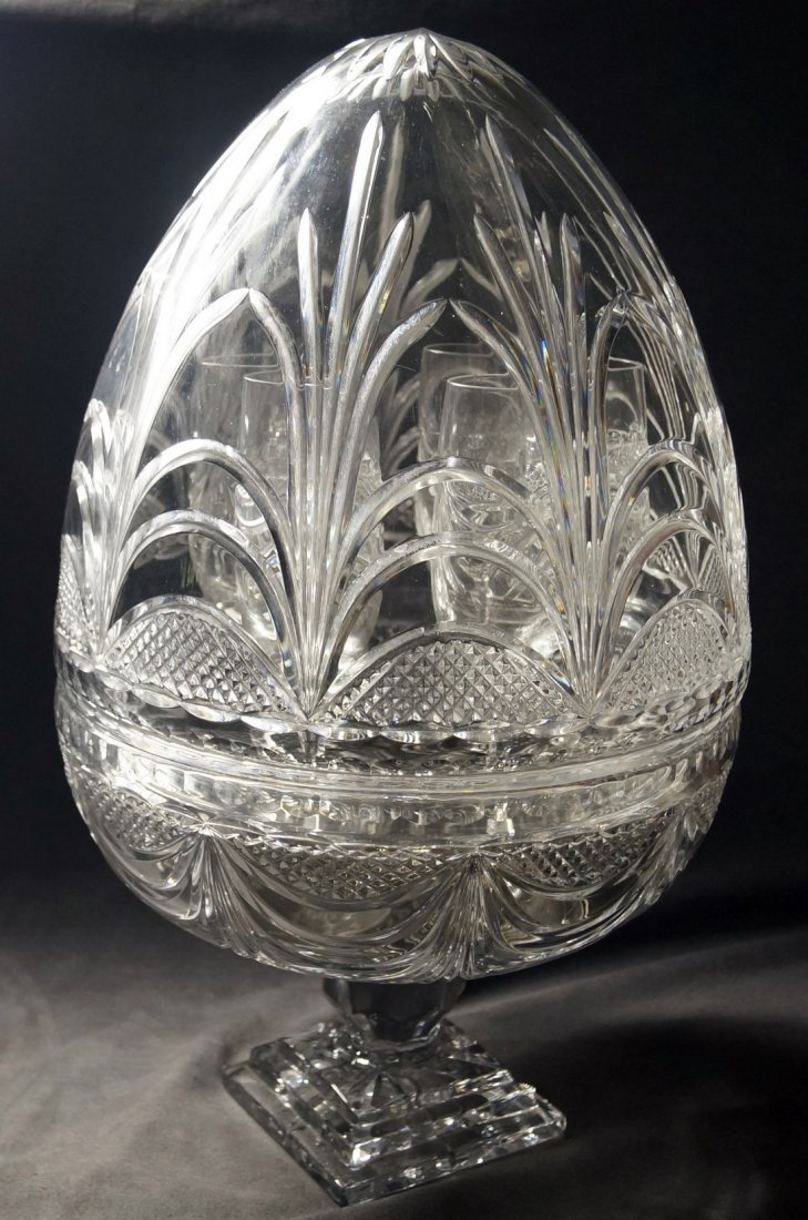 FRENCH CRYSTAL PEDESTAL EGG-FORM COVERED CHAMPAGNE - 2