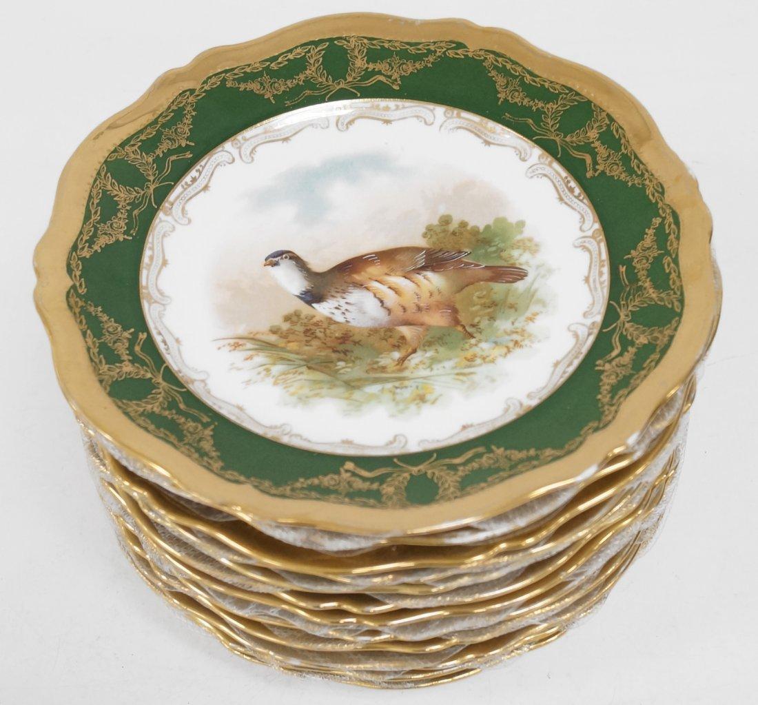 SET (12) ROYAL AUSTRIA DECORATED PORCELAIN BIRD PLATES.
