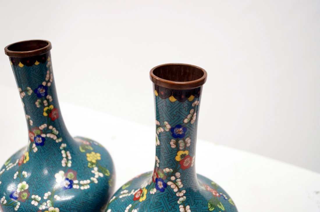 "PAIR CHINESE CLOISONNE VASES, SIGNED. HEIGHT 10 3/4"" - 2"