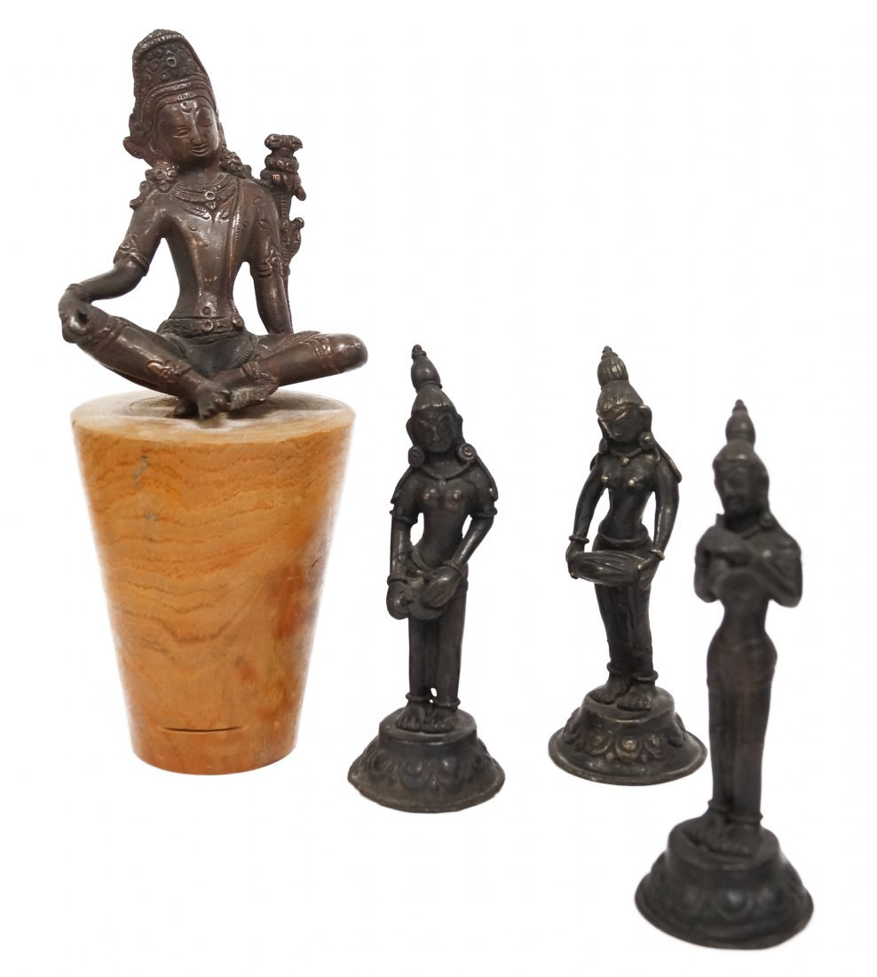 LOT (4) INDIAN AND HINDU BRONZE FIGURES INCLUDING