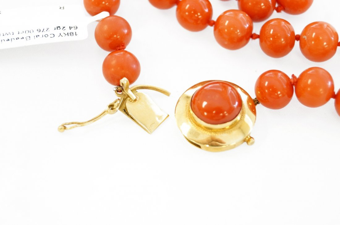 STRAND (44) CORAL 9.7-10.39 MM BEADED NECKLACE WITH 18K - 5