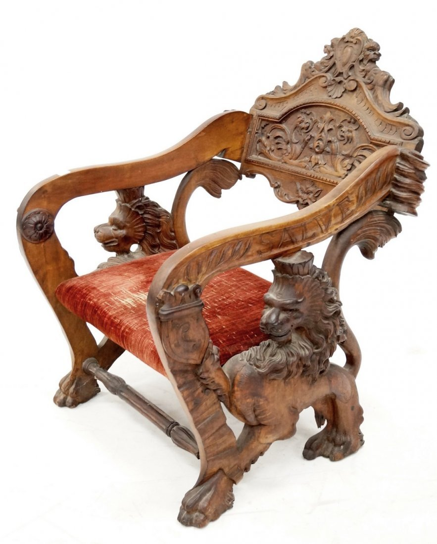 RENAISSANCE REVIVAL CARVED WALNUT ARMCHAIR WITH FULL