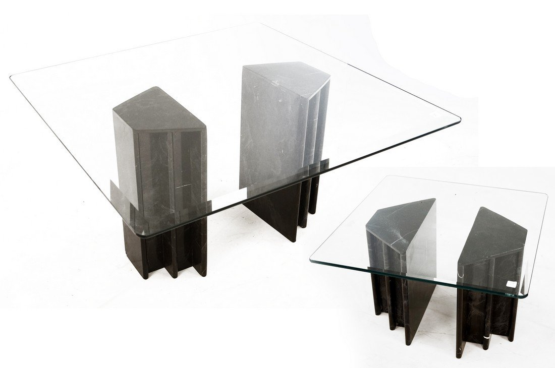 LOT (2) MODERN DESIGN MARBLE AND BEVELED GLASS TABLES.