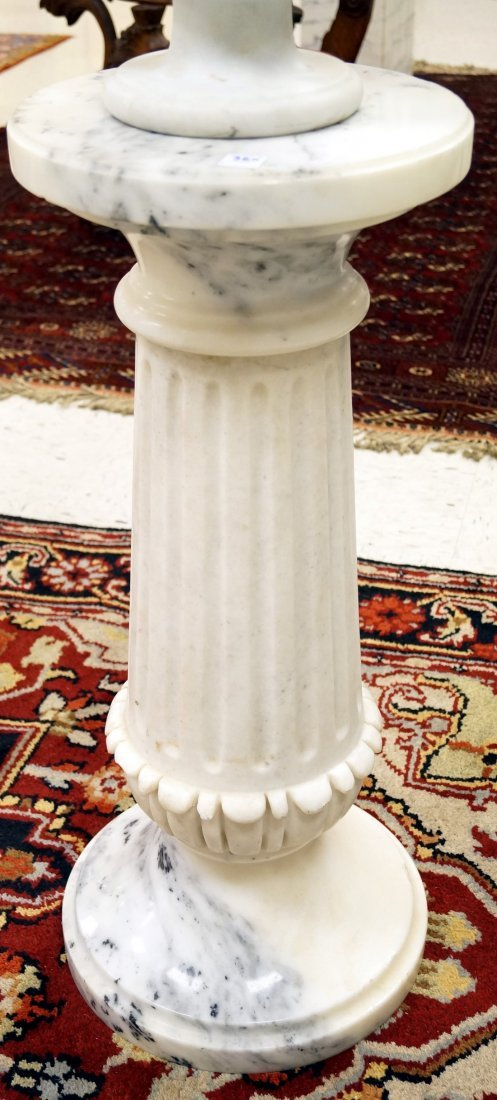 """CARVED MARBLE FLUTED PEDESTAL. HEIGHT 32"""""""