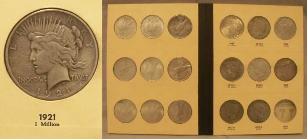 2016: BOOK (22) 1921-1935 PEACE DOLLAR COINS