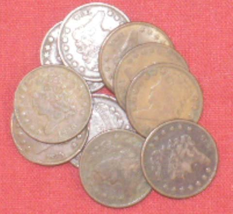 2023: LOT (10) CLASSIC HEAD HALF CENT COINS