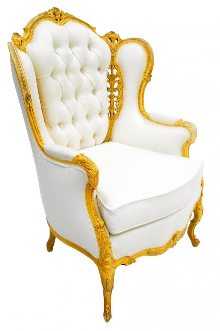 FRENCH STYLE CARVED AND PAINTED ARMCHAIR