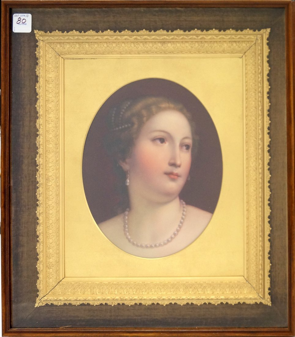 KPM HAND PAINTED PORCELAIN PLAQUE, PORTRAIT OF A LADY,