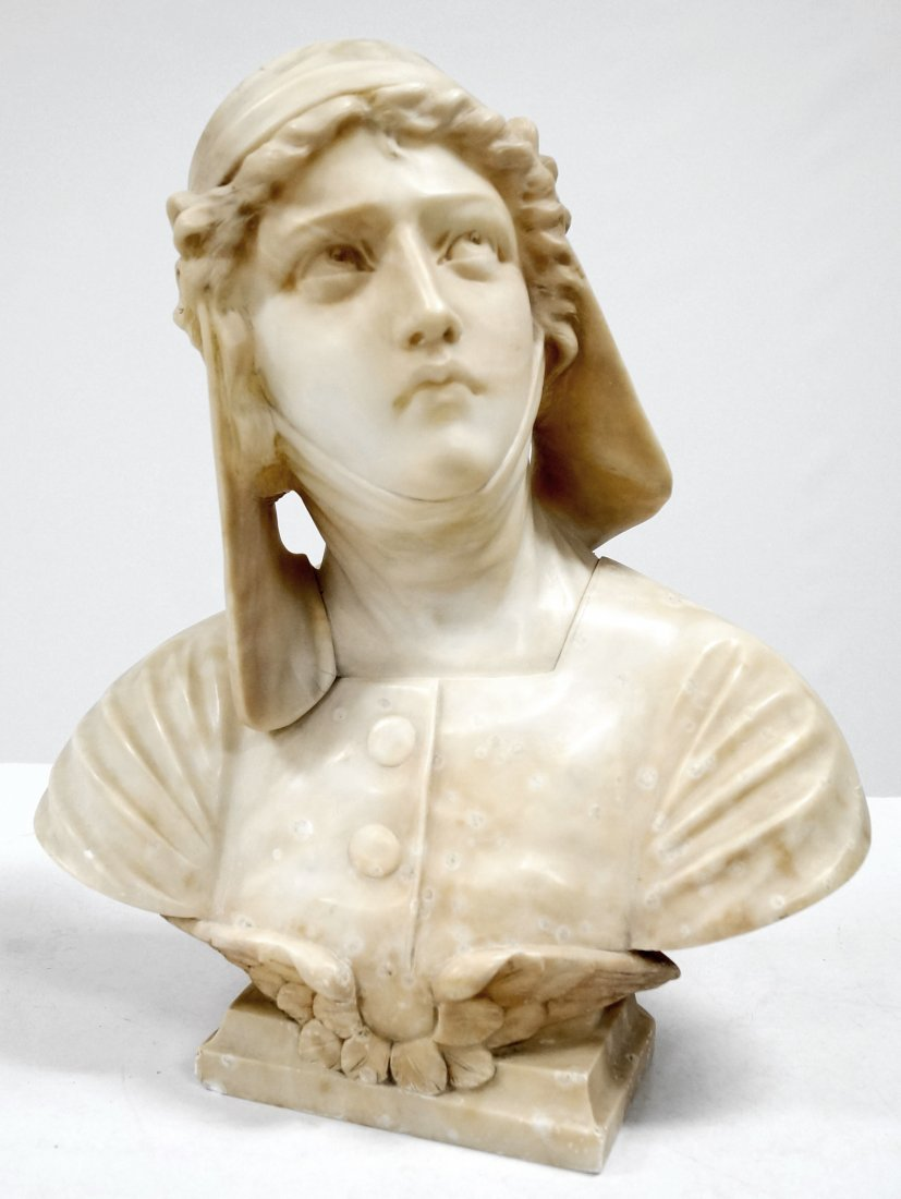 ITALIAN CARVED MARBLE BUST OF A RENAISSANCE WOMAN.