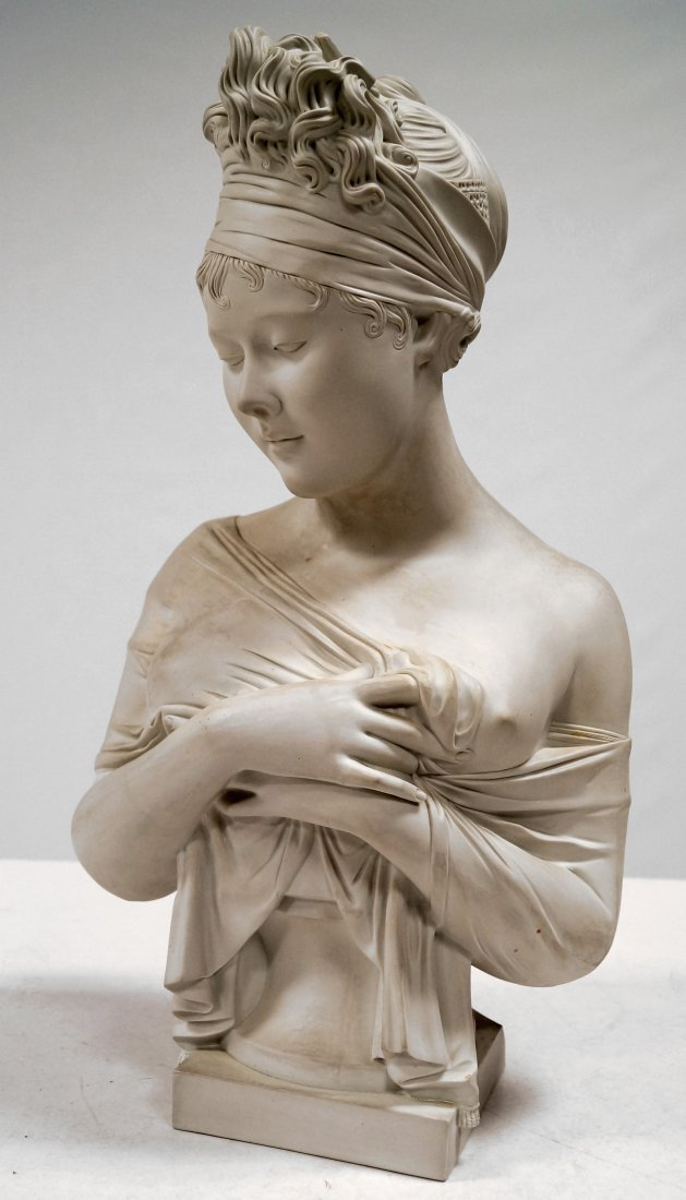 FRENCH EMPIRE STYLE BISCUIT PORCELAIN BUST OF A YOUNG