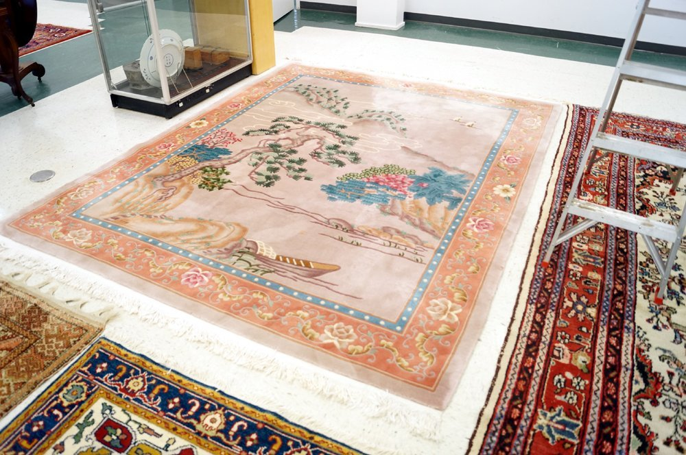 CHINESE CARVED LANDSCAPE CARPET. 8 X 10' - 2