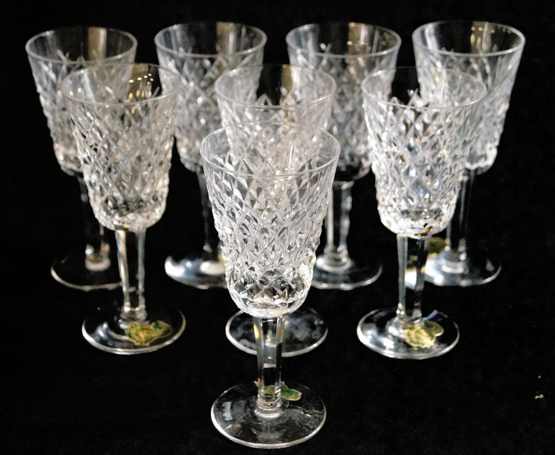 """SET (8) WATERFORD """"ALANA"""" CRYSTAL PORT WINES, SIGNED."""
