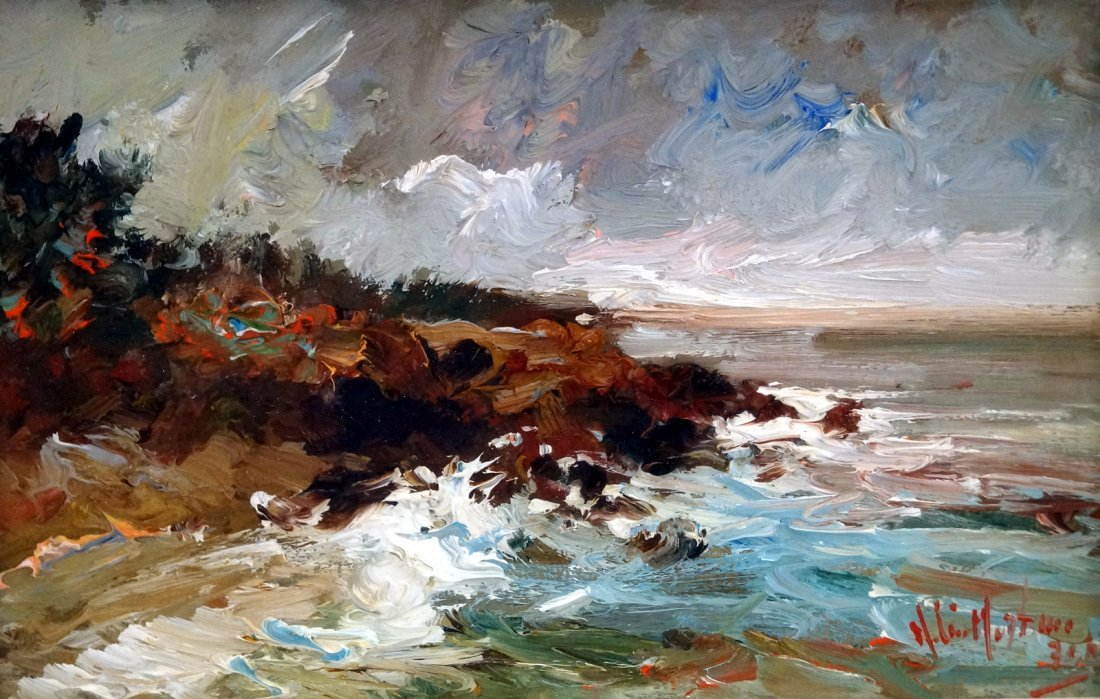 ITALIAN SCHOOL (20TH CENTURY) OIL ON PANEL, COASTAL
