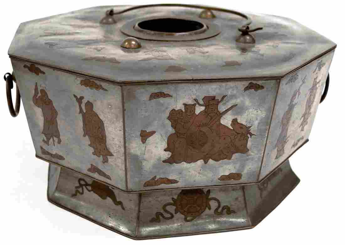 VINTAGE CHINESE MIXED METAL OCTAGONAL BRAZIER WITH