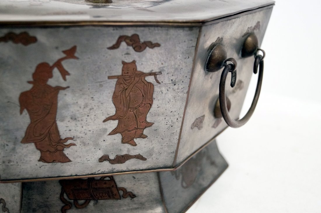 VINTAGE CHINESE MIXED METAL OCTAGONAL BRAZIER WITH - 2