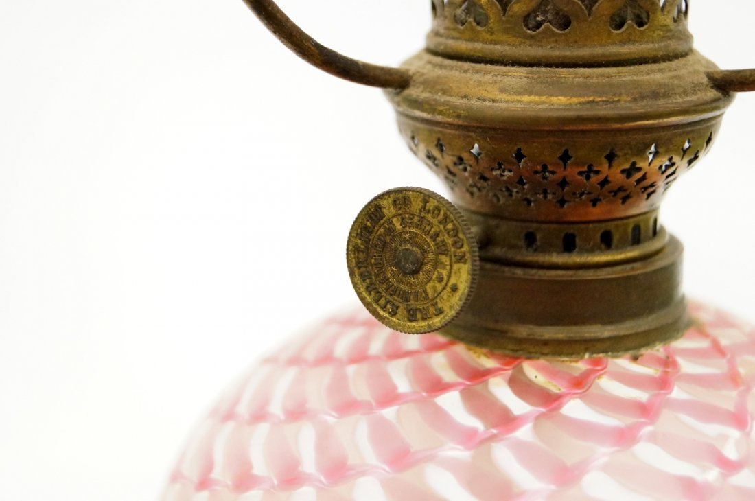 VICTORIAN MINIATURE SATIN GLASS OIL LAMP WITH CRIMPED - 3