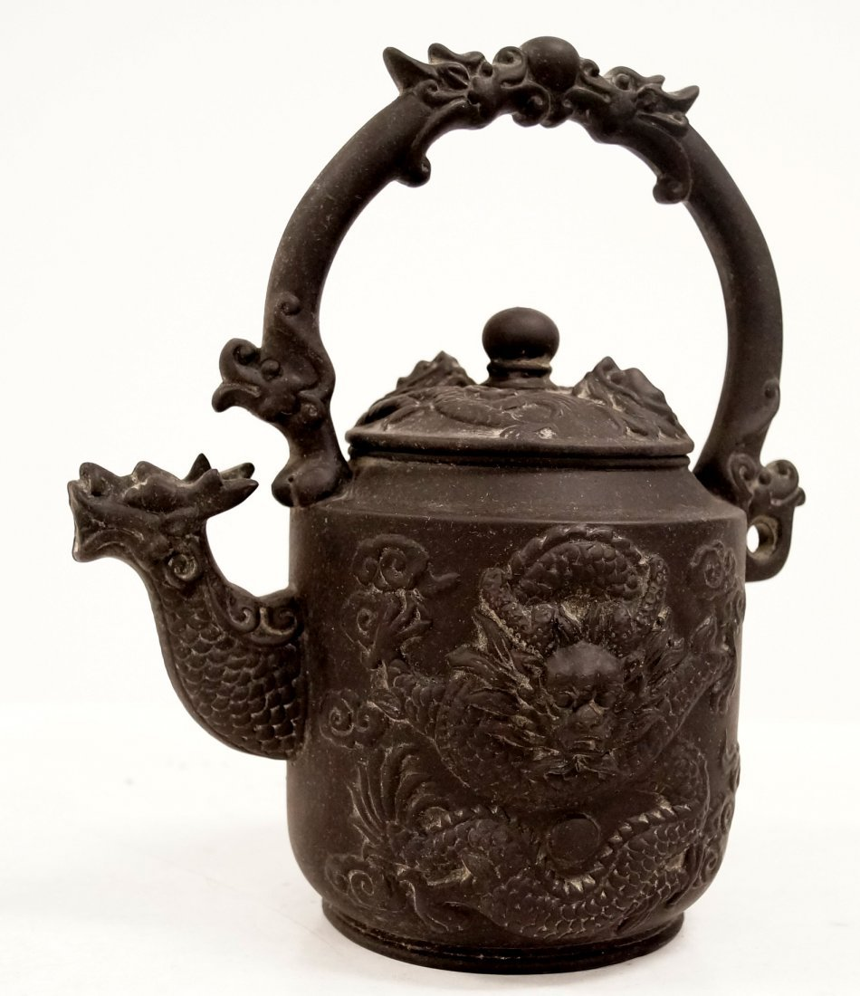 """CHINESE YIXING DRAGON DECORATED TEA POT. HEIGHT 8 3/4"""""""