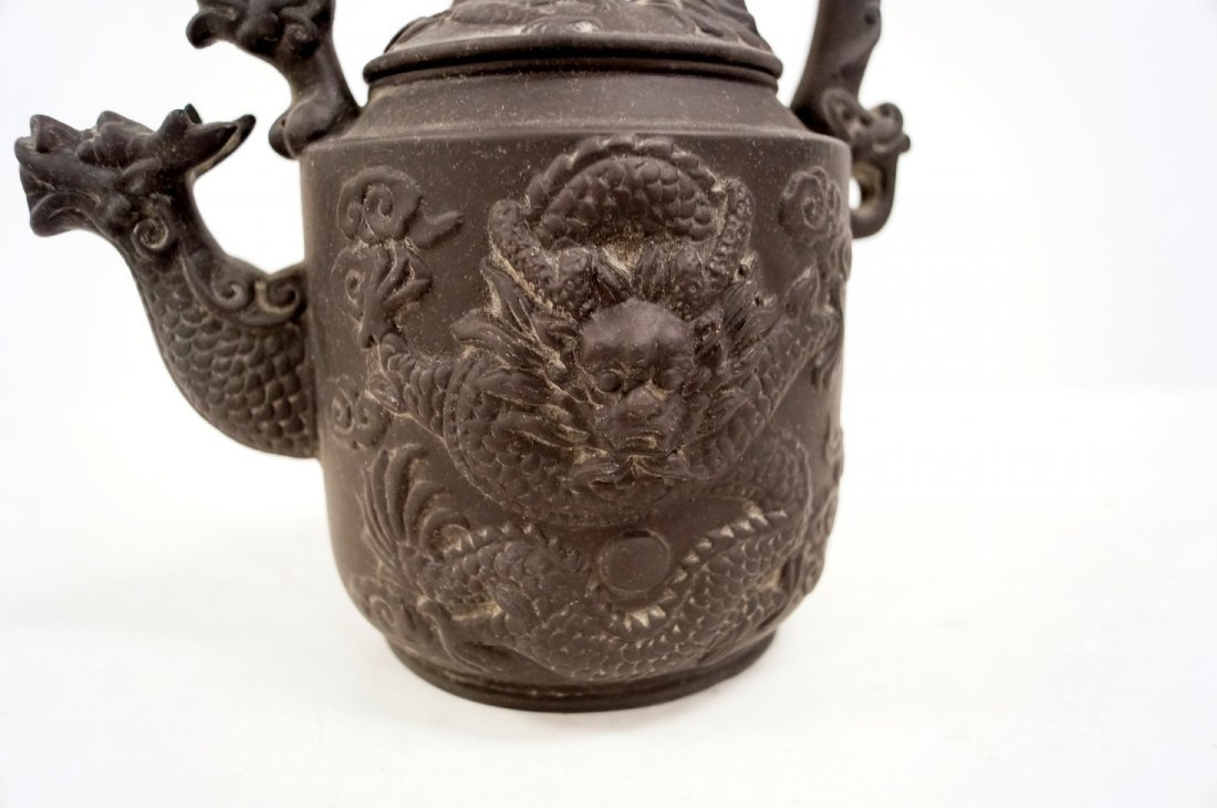 """CHINESE YIXING DRAGON DECORATED TEA POT. HEIGHT 8 3/4"""" - 2"""