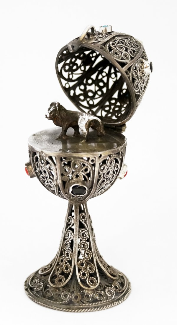 """FABERGE STYLE RUSSIAN SILVER FILIGREE EGG. HEIGHT 4"""""""
