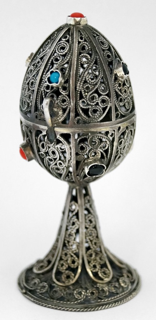 "FABERGE STYLE RUSSIAN SILVER FILIGREE EGG. HEIGHT 4"" - 2"