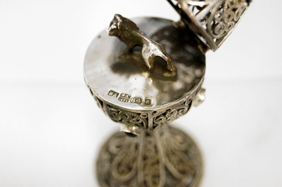 """FABERGE STYLE RUSSIAN SILVER FILIGREE EGG. HEIGHT 4"""" - 3"""