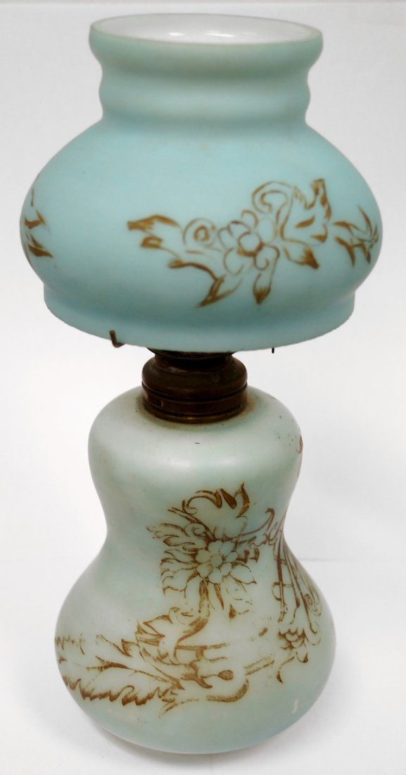 VICTORIAN MINIATURE HIGHLIGHTED BLUE SATIN GLASS OIL
