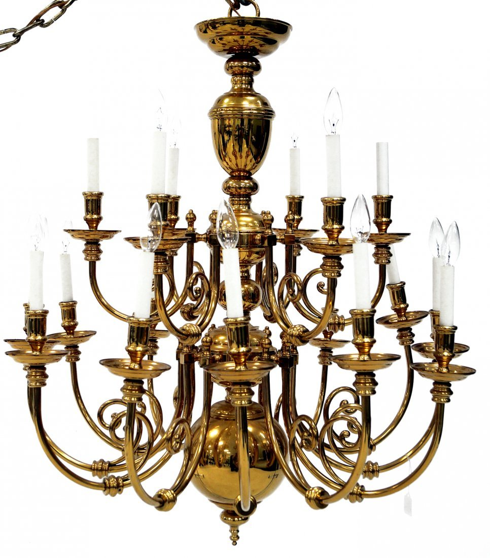 "DUTCH STYLE GILT BRASS 18-ARM CHANDELIER. HEIGHT 38"";"