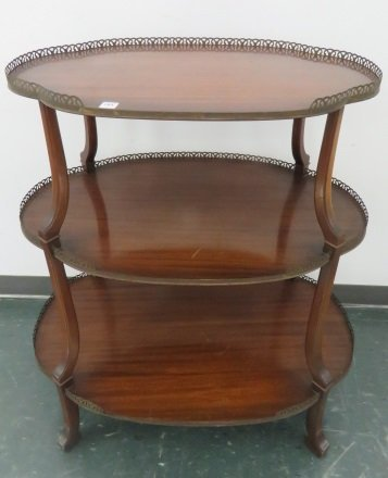 REGENCY STYLE MAHOGANY 3-TIER STAND WITH BRASS GALLERY.