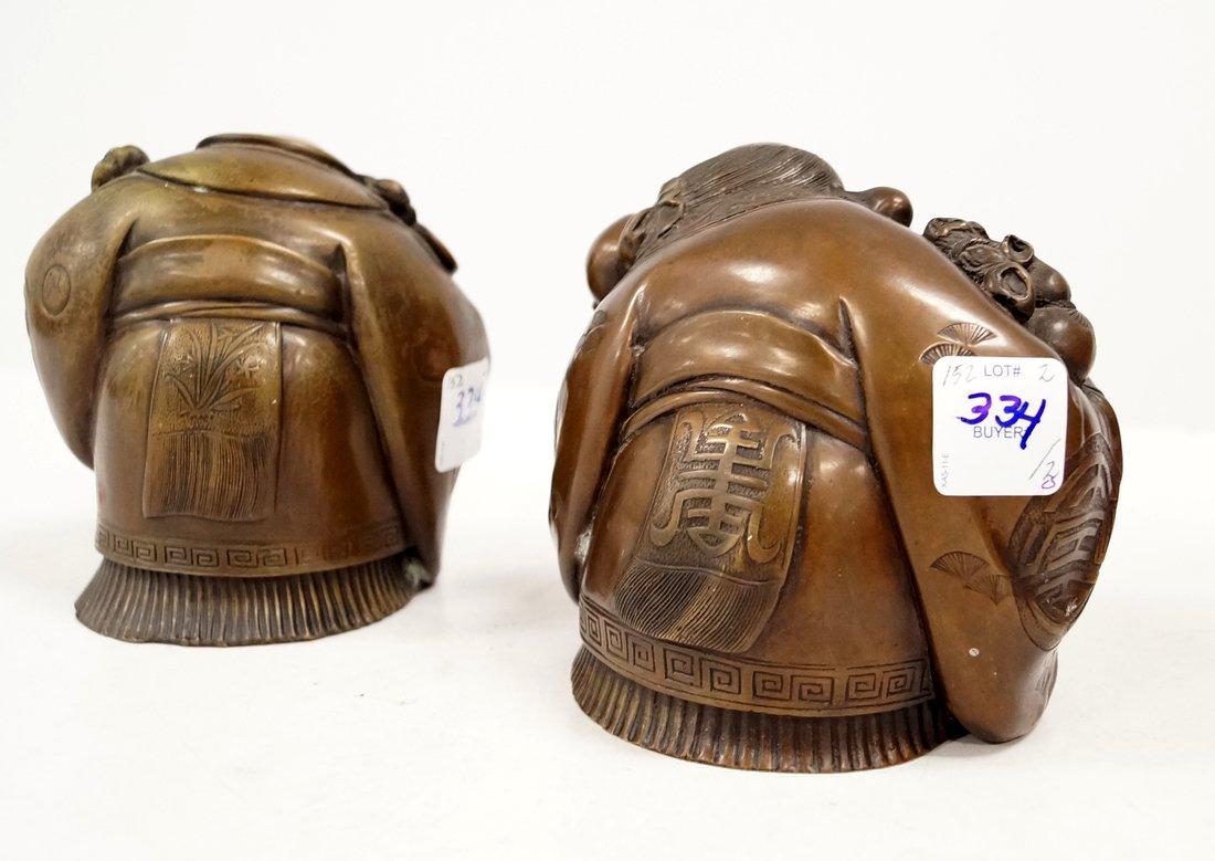 "LOT (2) JAPANESE BRONZE IMMORTALS. HEIGHT 4 3/4"" - 2"