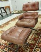 MID-CENTURY MODERN EAMES STYLE PLYCRAFT LEATHER LOUNGE
