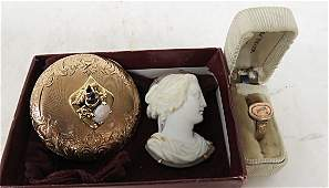 LOT VINTAGE JEWELRY INCLUDING ANTIQUE CARVED SHELL