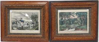 LOT 2 N CURRIERCURRIER  IVES HAND COLORED