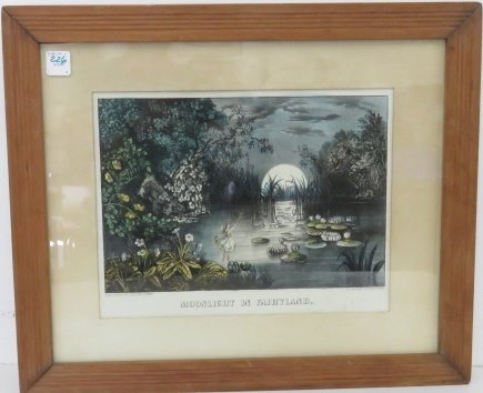 """CURRIER & IVES HAND COLORED LITHOGRAPH, """"MOONLIGHT IN"""