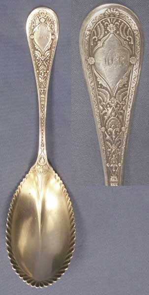 """4: WHITING STERLING SILVER """"PERSIAN"""" BERRY SPOON"""