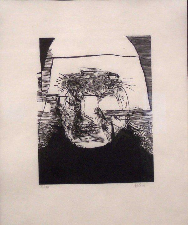 8: WOODCUT, HEAD OF A MAN, SIGNED BASKIN