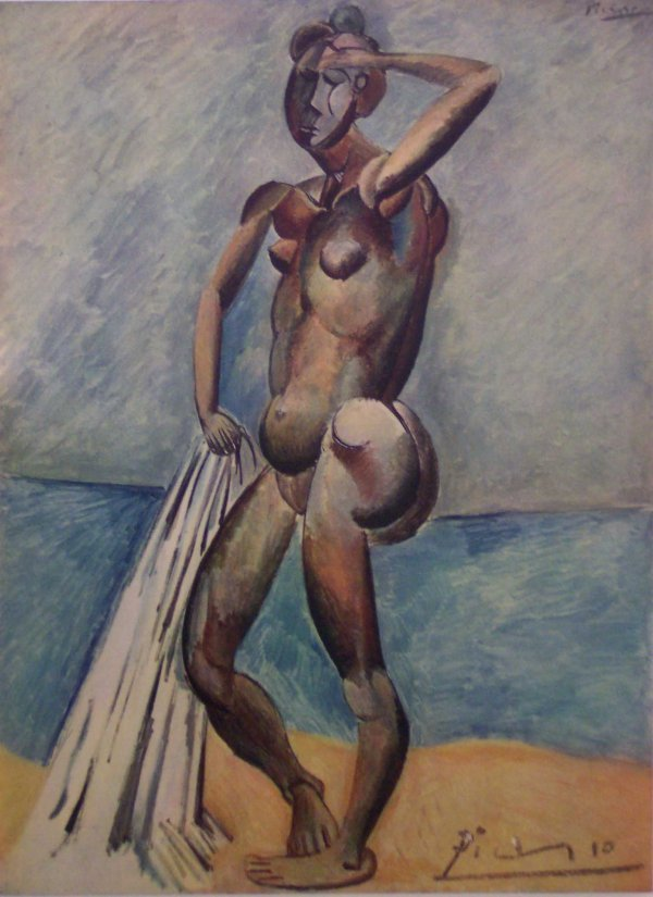 """9: COLORED OFFSET PRINT """"BATHER, 1908"""", PABLO PICASSO"""