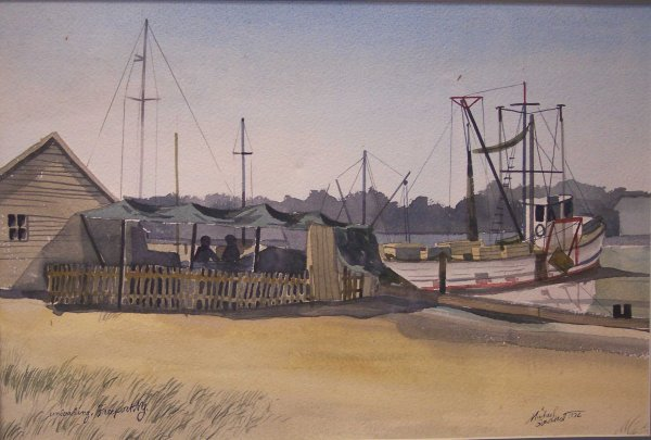 """12: WATERCOLOR """"UNLOADING, FREEPORT, NY"""" SIGN GOUDKET"""